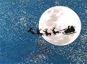 Close-up view of the moon, with Santa