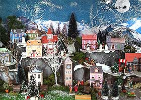View of the printable Christmas village of Darlington