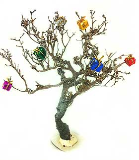Image of model deciduous tree decorated with Dolls House parcels