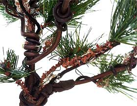 Close-up picture of wire detailing on model pine tree