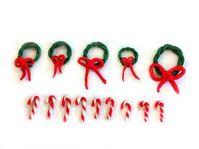 Photograph of miniature candy canes and wreaths created with Fimo clay