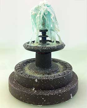 Picture of the completed model fountain and icy pools