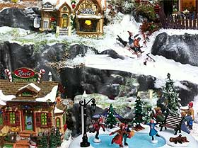 Close-up picture of mountainside and small Christmas skating pond