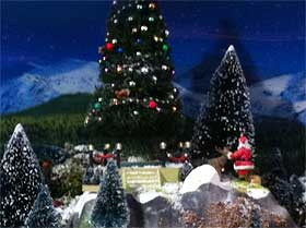 Image of the trees and Santa, and in particular, the Lemax Majestic Christmas Tree