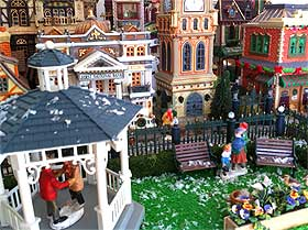 Picture of a crafters Christmas village paradise, the result of a great deal of work