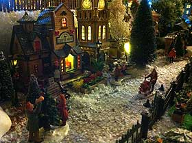 Image of frosty street in the model winter village