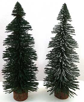 image of two model spruce trees one sprayed with snow spray