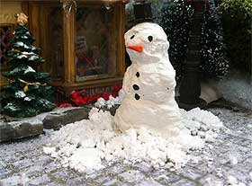 Close-up of the snowman and shovelled snow