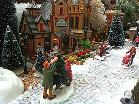 Photo of a cobblestone street within a Christmas village
