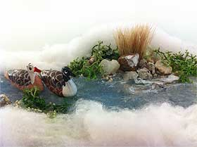 Close-up picture of the model stream and its Canadian geese miniatures