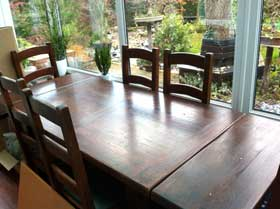 Photo of dining table before staging added