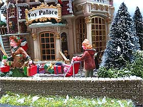 Photo of model wall, fronting the Lemax Toy Palace building