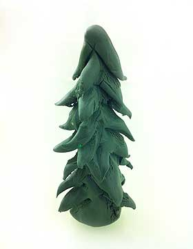 Photograph showing the finished Fimo model Christmas tree