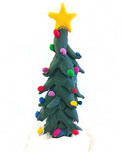 Image of the completed Fimo Christmas tree model, complete with baubles and star