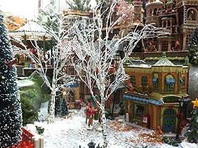 Picture of the model silver birch trees in a Christmas village setting