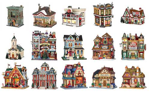 Picture of typical houses produced by Lemax and Department 56