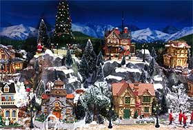 Photo of a Lemax Christmas Village display at a local garden centre