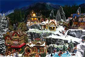 Photograph of a stunning Christmas Village, enhanced by the deep-blue sky in the background