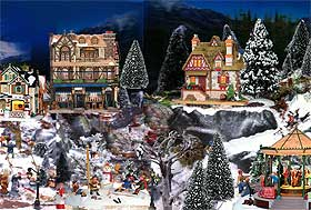 further picture of a miniature christmas village retail display