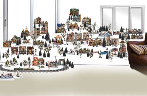 picture of a christmas village layout designed using photoshop