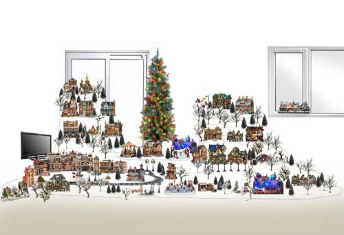 Design staging planning and layout christmas village displays computer image of the design based around a tall christmas tree solutioingenieria Images