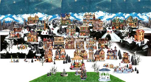 Photoshop image showing the possible design of a Lemax Christmas village with mountains