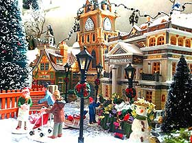 Further view of model Christmas Village plaza