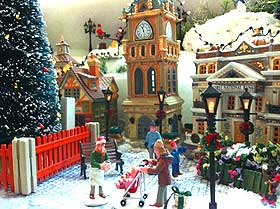 Image of Christmas plaza and Lemax Municipal Clock Tower