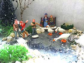 Picture showing homemade Christmas Village pond
