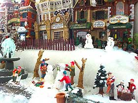Christmas Village photograph, showing snowmen