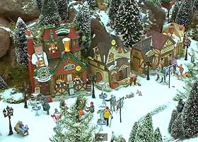 Different view of the roads and pathways, covered in fake miniature snow