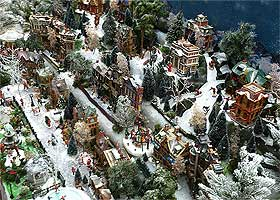 Photo of a large Christmas village from above