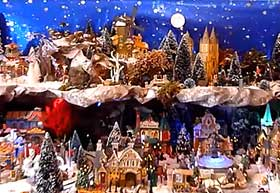 Photo of Christmas Village, with starry sky background