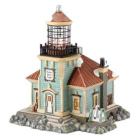 Image of the Tucker Point Light, from the Department 56 New England Christmas Village collection
