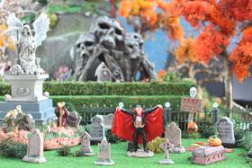 Image showing Fimo pumpkin Jack o' Lanterns in a graveyard setting