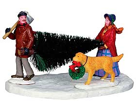 Image of Christmas tree with dog