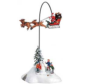 View of the Santa is Coming to Town rotating table piece