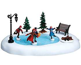 Image of Winter Skating, a miniature ice skating rink designed for Lemax Christmas Villages