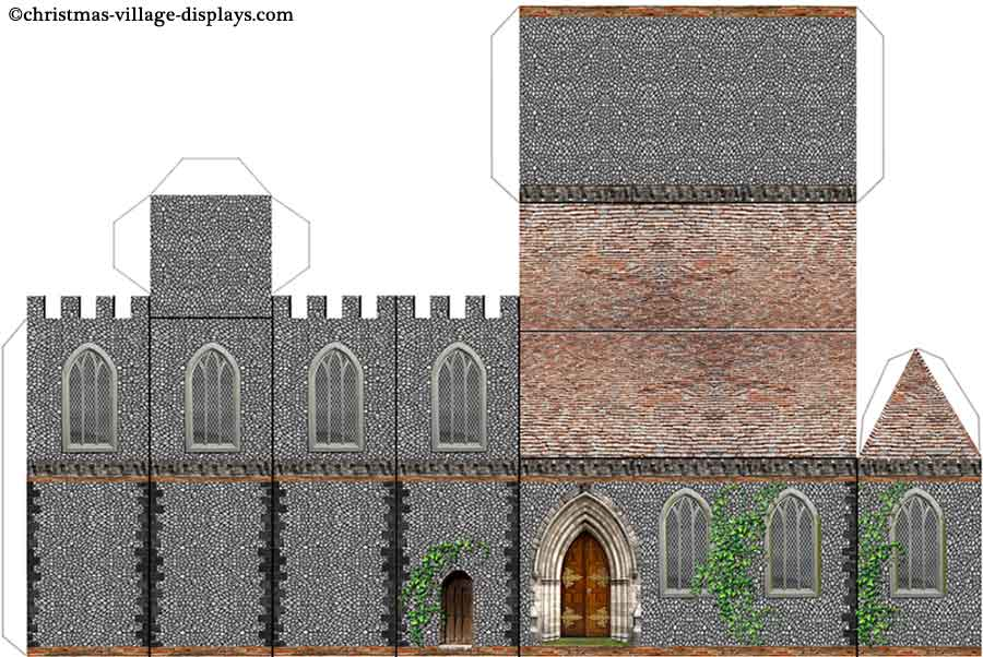 Printable model card houses christmas village displays printable model template of st marys church maxwellsz