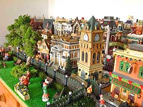 photo of lemax houses being used to create a summer village display